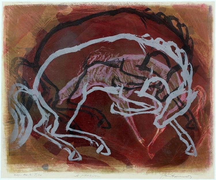 Jan Bezemer (1907-1997), '3 paarden'. Genummerd 4/