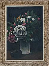 Félix Elie Tobeen (1880-1938) - Still life with bouquet and lacquer box. Signed lower right. Prov