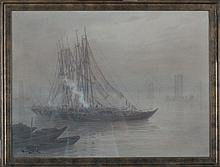 Ginnosuke Yokouchi (1870 - 1942). Ships in the mist. Signed lower left. - watercolour 48,5 x 65,5