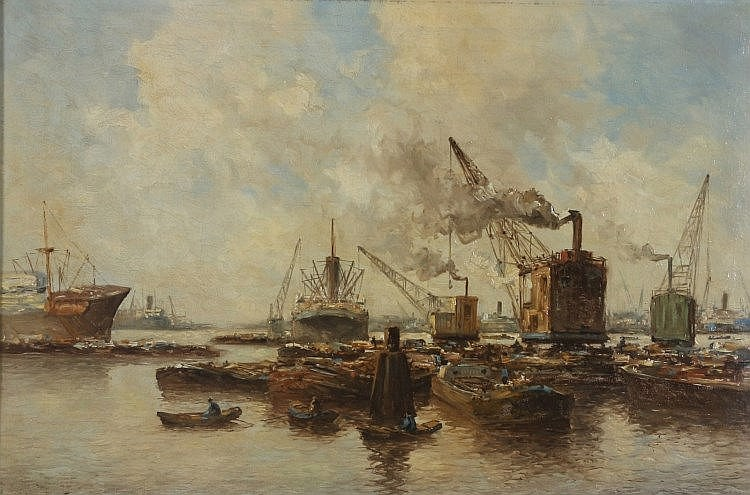 Marinus de Jongere (1912-1977)  Ships in the harbour of Rotterdam. Signed lo