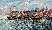 Jan Makkes (1935-1999) A harbour. Signed lower left. Doek 58 x 98 cm.