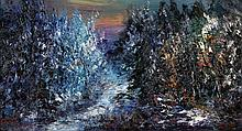 Jan Makkes (1935-1999) A forest. Signed lower left. Doek 48 x 88 cm.