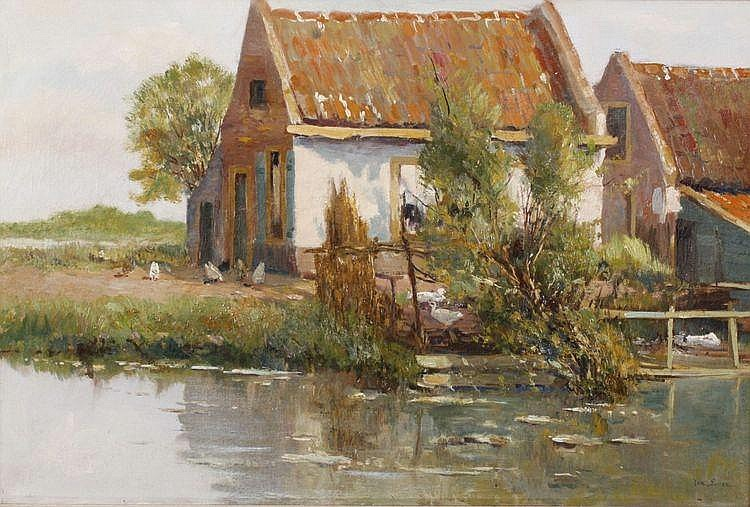 Jan Sirks (1885-1978) Een hoeve aan de plas.