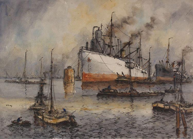 Willem Bos (1906-1977) Bedrijvigheid in de haven