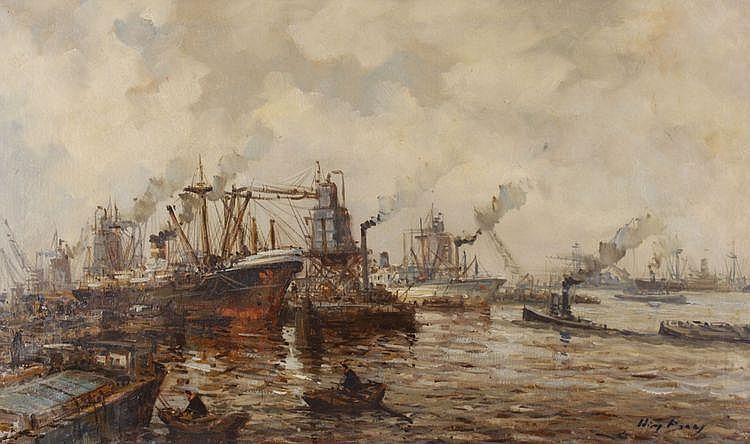Wim Bos (1906-1977) Panoramisch havengezicht.