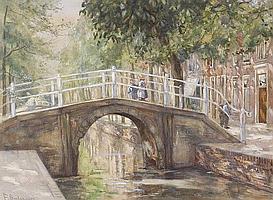 Frans Smissaert (1862-1944) Brug over stadsgracht.