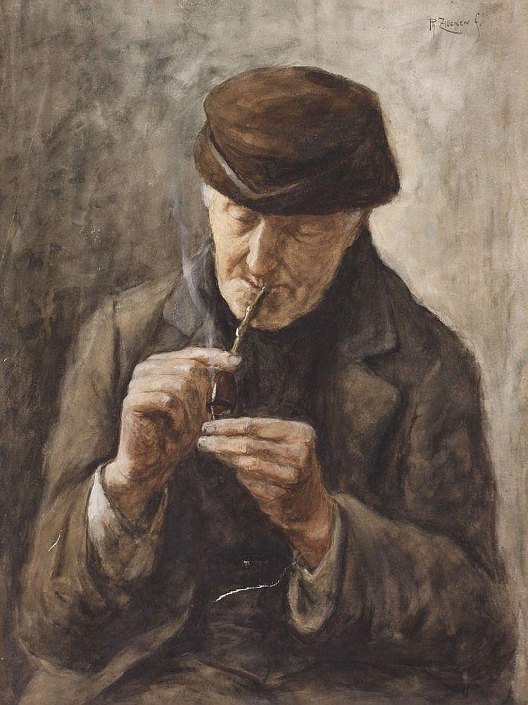 Philip Zilcken (1857-1930) Een pijprokende man.