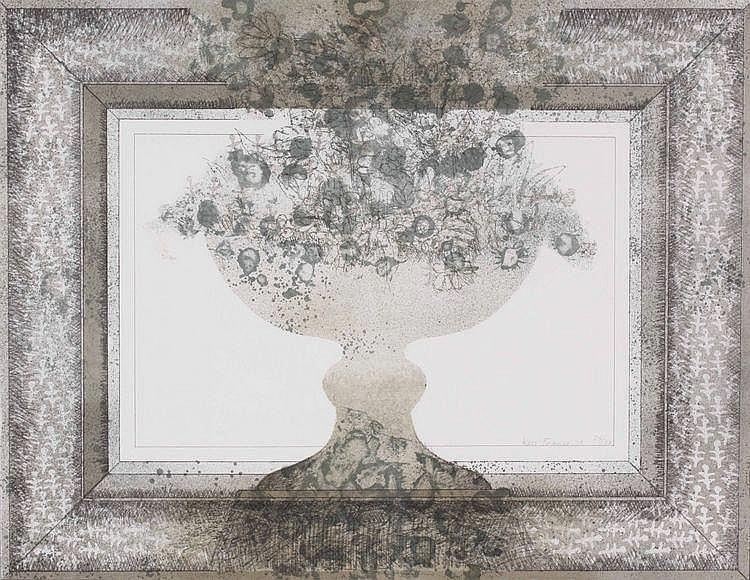 Kees Franse (1924-1982) Vaas met bloemen.