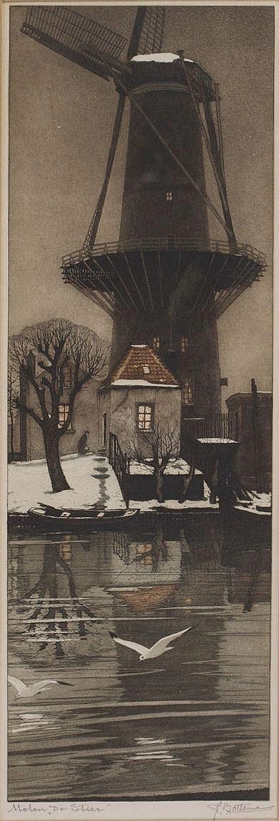 Tjeerd Bottema (1884-1940) 'Molen De Stier'.