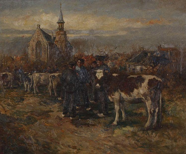 Cornelis Koppenol (1865-1946) Veemarkt te Nunspeet