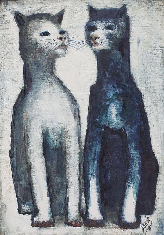 Dook Everse (1910-2005) Twee katten. Gesigneerd