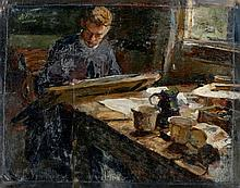 Henri Frédéric Boot (1877-1963) - The painter Marius Richters in his workshop. Signed upper left.
