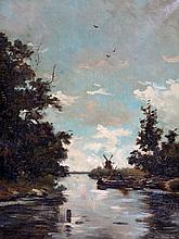 Willem Johannes Weissenbruch (1864-1941) - River landscape with a fisherman in a rowing boat. Sig