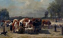 Edmond De Pratere (1826-1888) - Ox market. Signed and dated '60 lower right. Compare canvas with