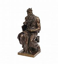 Ron Liod Sauvage (IX-X) - A bronze sculpture, 'Moses'. Signed on base and marked H.Luppens, Bruxe