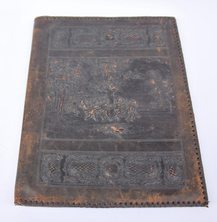An antique leather cover