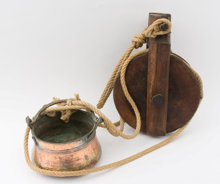 A lot of a cable pulley with copper bowl