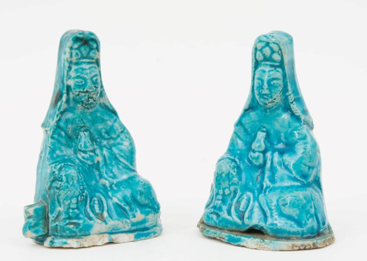 A pair of antique Guaynin figures