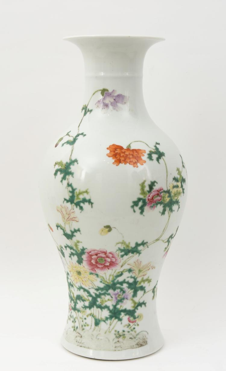 A great Chinese famille-rose baluster porcelain vase, decorated with floral ornamentations and peonies