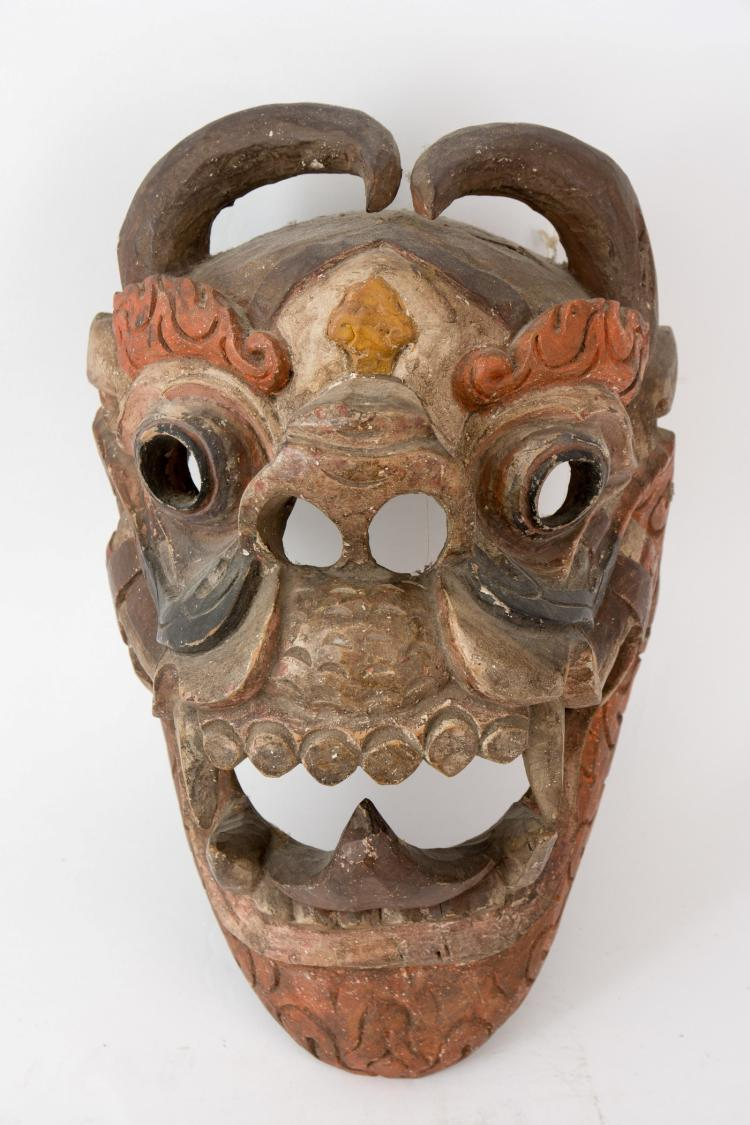 A great Chinese wooden Fire Dragon mask