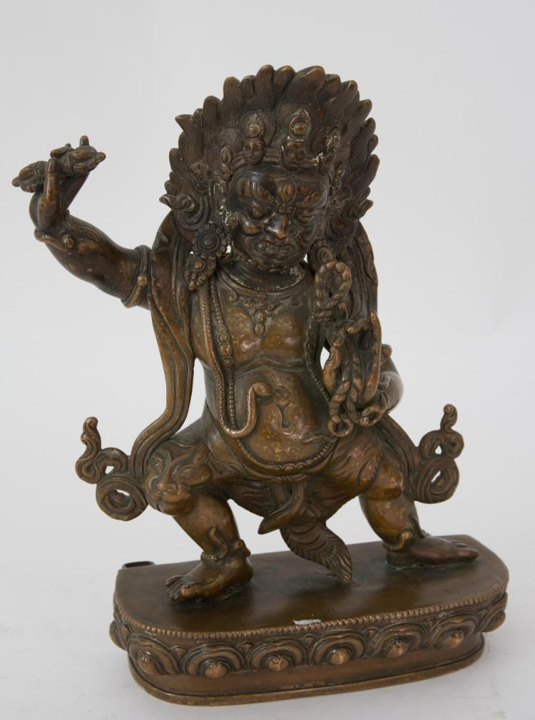 A bronze Mahakala figure
