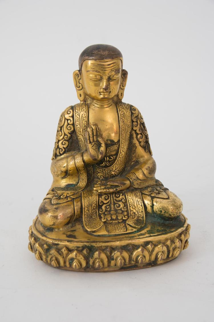 A firegilt bronze Adibuddha sculpture