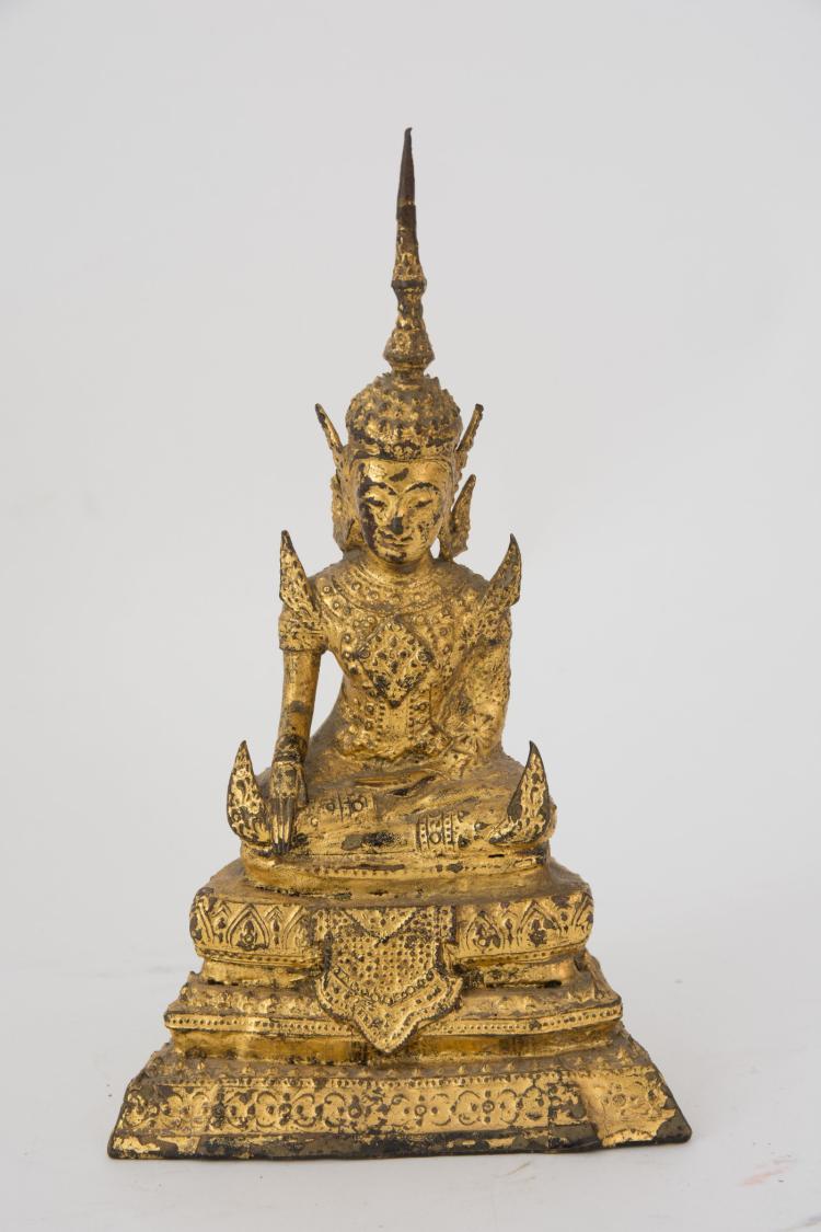 A firegilt bronze Buddha sculpture