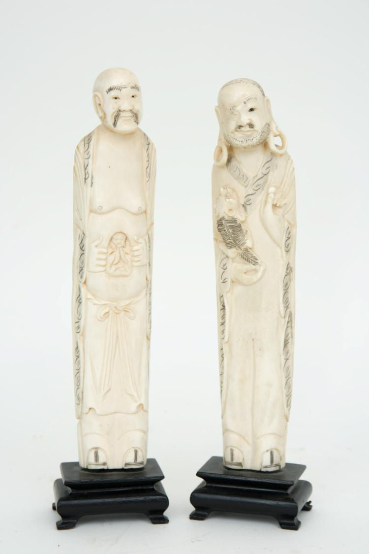 A lot of two Chinese ivory figures
