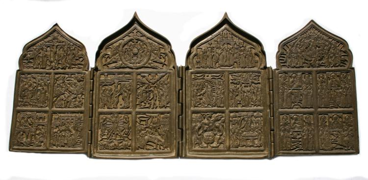 A Russian bronze travel icon