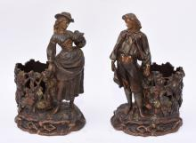 A pair of terracotta figures