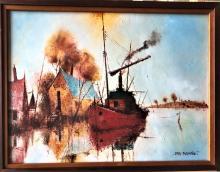 """ERIS FLEMING """"Finn's River Boat"""" signed oil on boa…"""