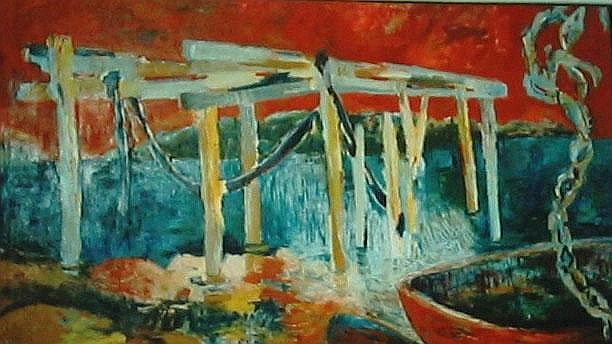MARIA HOBBS 'Jetty at Hamelin Bay' Oil on canvas
