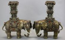 pair of Chinese Mongolian silver elephants w/ jade