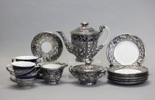 Chinese silver mounted tea set