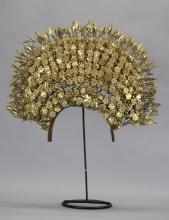 Asian metal crown/headpiece w/ floral motif
