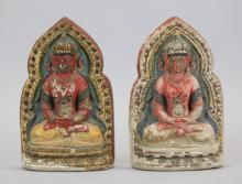 2 Chinese polychrome clay Buddhas, 19th c.