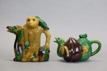 2 Chinese sancai glazed teapots, late Qing dynasty