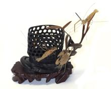 Chinese carving of a basket w/ agate shrimp & crab