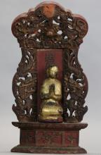 Chinese carved wooden Buddha, 19th c.