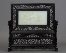 Chinese jade/stone table screen