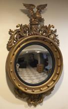 American gilt wood bullseye mirror, 19th c.