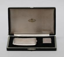 Japanese silver cigarette case and lighter