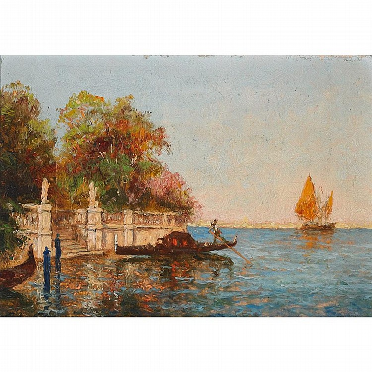 Charles Louis Auguste Cousin (1807-1887), CANAL A VENISE, Oil on panel; signed lower left, 6.5