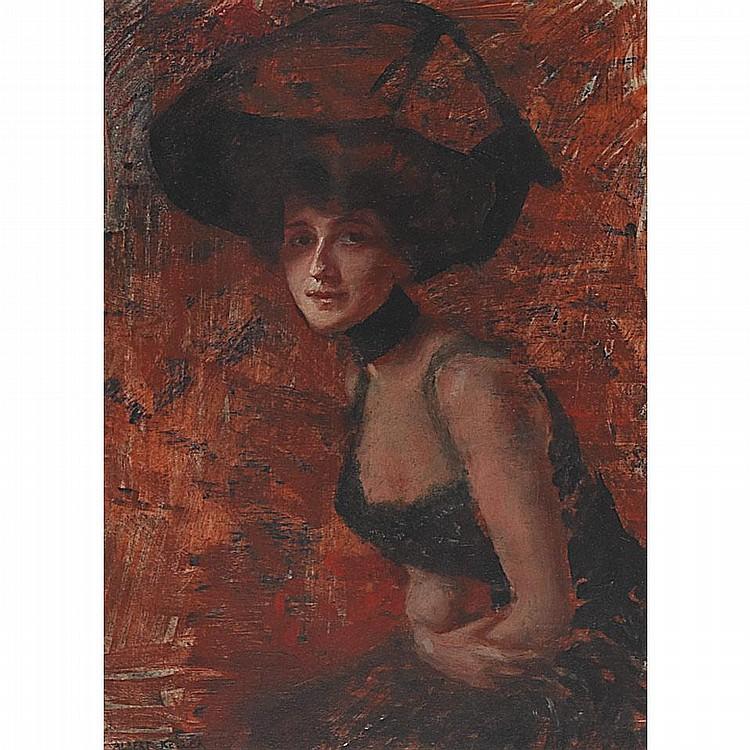 Albert von Keller (1844-1920), A BELLE EPOQUE BEAUTY IN A WIDE BRIMMED HAT, Oil on panel; signed lower left, 13.5