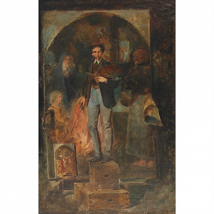 Attributed to Ferenc Ujvary (1898-1974), ARTIST IN HIS STUDIO (BY OR OF FERENC UJVARY), 1933, Oil on canvas; unsigned, inscribed on a handwritten label: