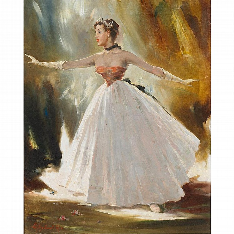 """Aldo Affortunati (1906-1991), BALLERINAS IN LONG DRESSES ON STAGE, Pair of oils on canvas; each signed lower left, 20"""" x 16"""" - 50.8 x 40.6 cm."""