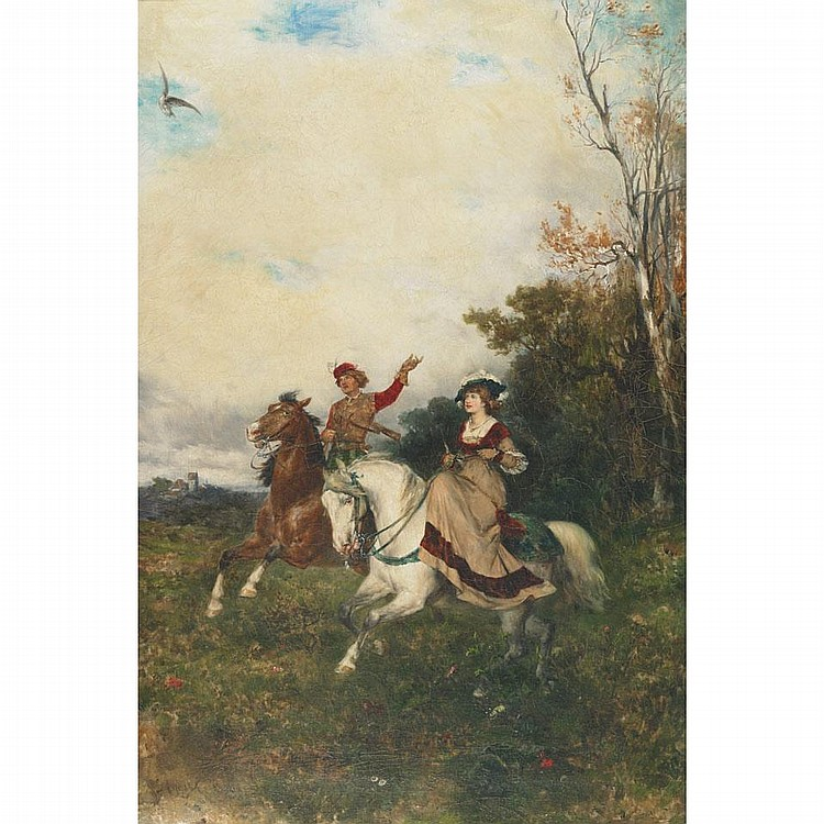 Gustav Eggena (1850- ), A DAY'S HAWKING, Oil on canvas; signed at Munich lower left, titled to labels verso, 31.5