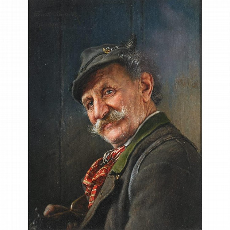 Ernst Schmitz (1859-1917), HUNTER, Oil on panel; signed at Munchen upper left, 7.5