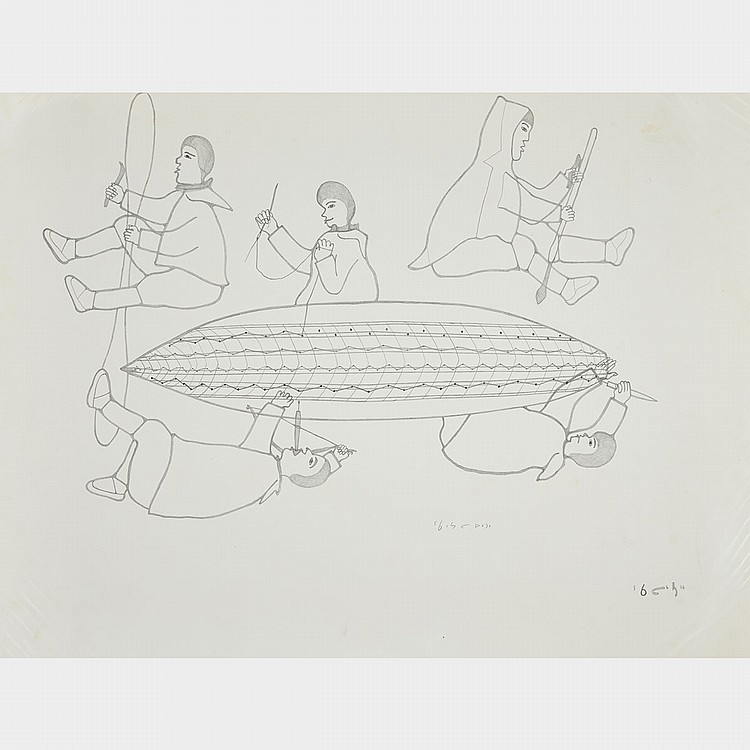 HAROLD QARLIKSAQ (1928-1980), UNTITLED (BUILDING THE KAYAK), graphite drawing (unframed), 20
