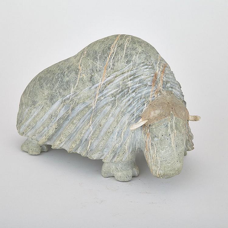 Billy Merkosak, MUSK OX, stone, antler, 8